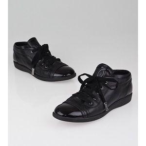 chanel lace up lambskin cap toe black sneakers